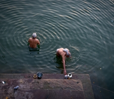 Locals Bathing early morning in holy River Ganga,Varanasi,India