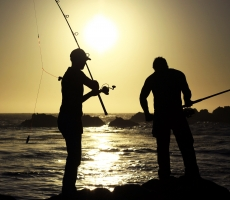BJK fishing at sunset