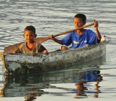 childrens playing with boat at Flores East Nusa Tenggara Province,Indonesia
