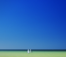 Two White Sailboats on the Gulf of Mexico Naples