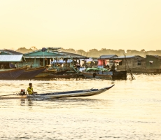 Golden Sunrise in Tonle Sap lake
